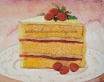 Water Color : Original Yellow Raspberry Cake watercolor painting. Cake painting. Watercolor art. Cake wall art. Watercolor fruit. Cake art.