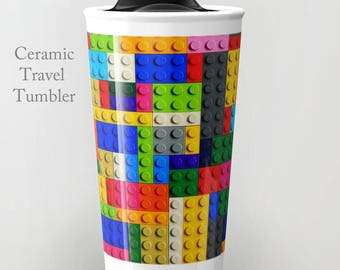 Lego Travel Tumbler-Ceramic Travel Mug-Lego Travel Mug-Coffee Mug-Ceramic Mug-12 oz Tumbler-Insulated Coffee Mug-Insulated Travel Mug