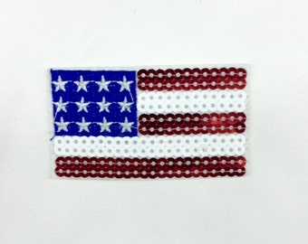 USA Flag Patch - USA Flag Applique Sequin Embroidered USA Flag Patch(3pcs)
