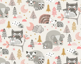 Sleepyheads Pink by Maude Asbury for Blend Fabrics; Woodland Pink Nursery; Baby Fabric
