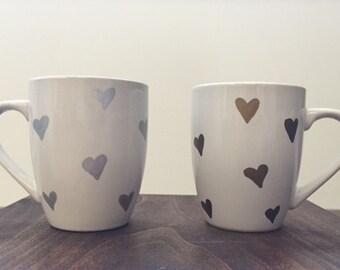 Silver and Gold Heart mug set