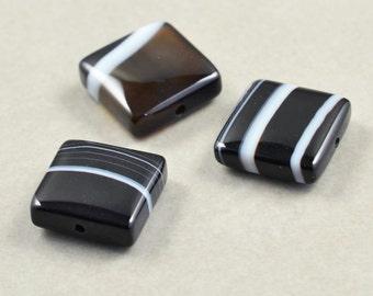 Black & White Stone Beads, Sardonyx Beads, 10mm Square Beads, Three