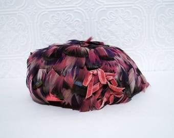 Vintage Feather Hat Pink Neutral Multicolor Pillbox 1960s