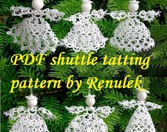 SIX Angels 3D' PDF Original Shuttle Tatting Pattern. Instant Digital Download. Tatting yourself. xmas gift. schemat frywolitki.