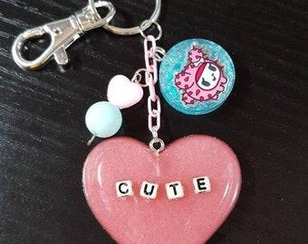Resin Fairy Kei Pastel Goth Cute TokiDoki Inspired Purse Charm Keychain