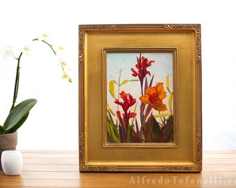 Floral oil painting | Still life painting of lilies | Signed oil painting | Garden flowers | Colorful painting titled Garden Jewels