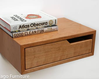 Floating Nightstand / Bedside Table, Cherry Hardwood