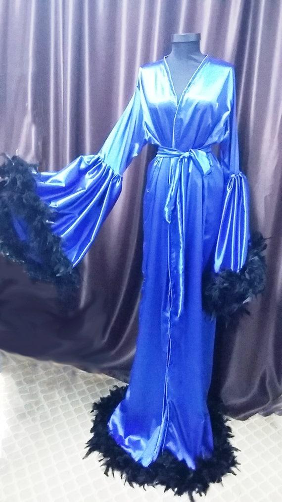 Benutzerdefinierte blau Satin Engel Ärmel Robe Morgenmantel