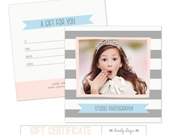 Gift Certificate Template Photoshop for Photographers INSTANT DOWNLOAD