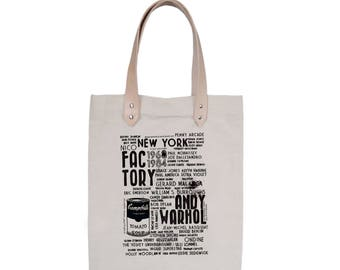 Tote Bag With leather straps - Screenprint Over Cotton Canvas Tote Bag The Factory