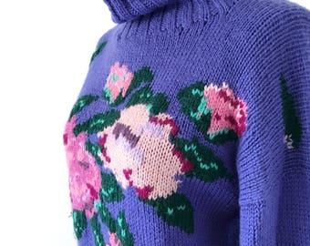 Vintage Floral Sweater, Vintage Sweater, 80s Sweater, 80s, Sweater, I. Magnin, Floral Sweater, Flower Sweater, Cowl Sweater, Turtleneck