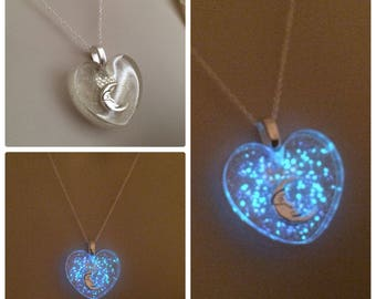 Moon Within Your Heart Labyrinth inspired glow galaxy necklace
