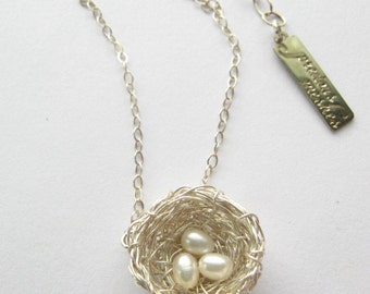 Bird Nest Necklace, Three Pearls, Silver Wire Precious Meshes