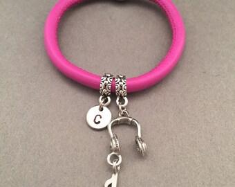 Headphones leather bracelet, headphones charm bracelet, leather bangle, personalized bracelet, initial bracelet, monogram