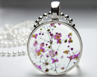 Purple Flower Blooms Round Pendant Necklace with Silver Ball or Snake Chain Necklace or Key Ring