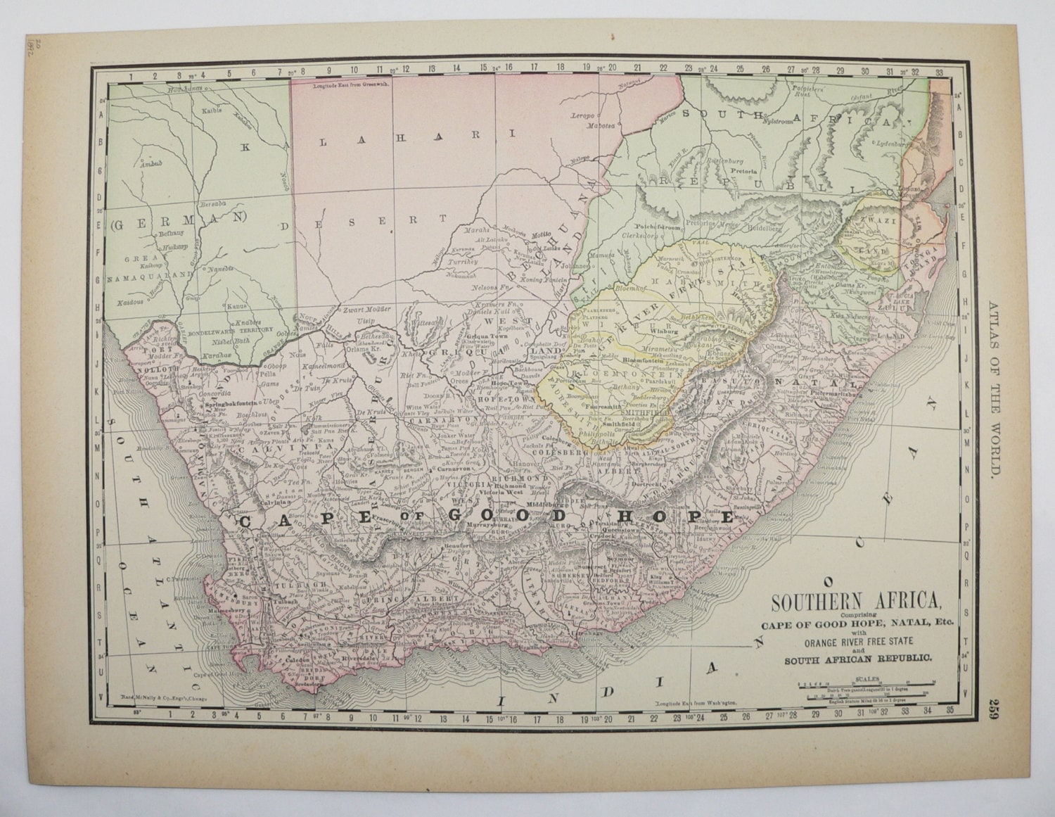 South Africa Map 1892 Vintage Map Cape of Good Hope Cape