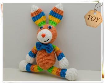 Amigurumi Bunny, Crochet Bunny, Amigurumi Rabbit, Soft Bunny Toy, Stuffed Bunny Toy, Plush Bunny, Multicolor Bunny, Bunny with Bow