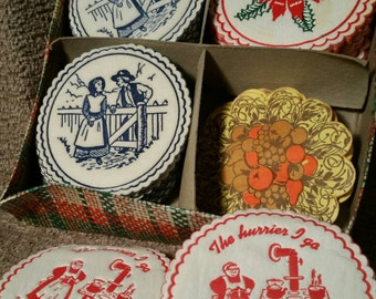 Vintage Holiday Drink Coasters - Amish, Christmas and Misc - 60 Paper Pieces