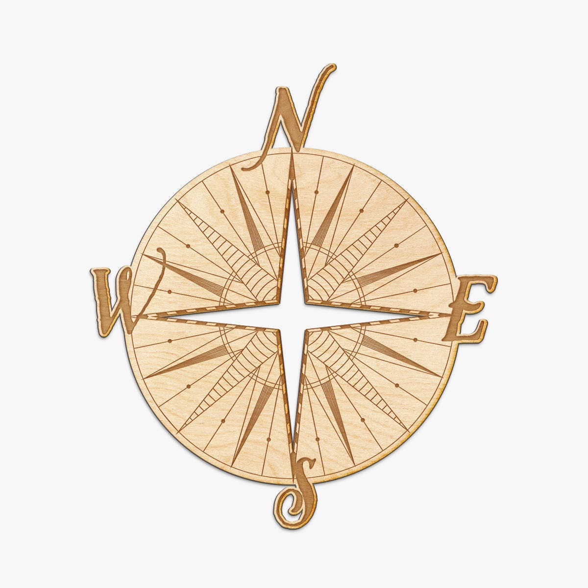 Compass Wood Engraved Sign Nautical Decor