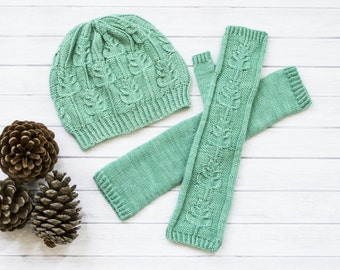INSTANT DOWNLOAD PDF Knitting Pattern for Women's Hat and Fingerless Mittens Gloves Cables Beanie Set Botanical pattern
