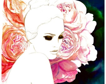 The Blossom Effect, print from original watercolor and pen fashion illustration by Jessica Durrant