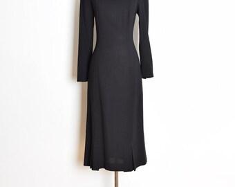 laura ashley dress, 90s laura ashley, vintage 90s dress, wednesday addams dress, black and white, black wool dress, puritan collar, M medium