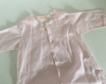 Vintage Pink Cotton Baby Girl Gown,Antique Baby Dress