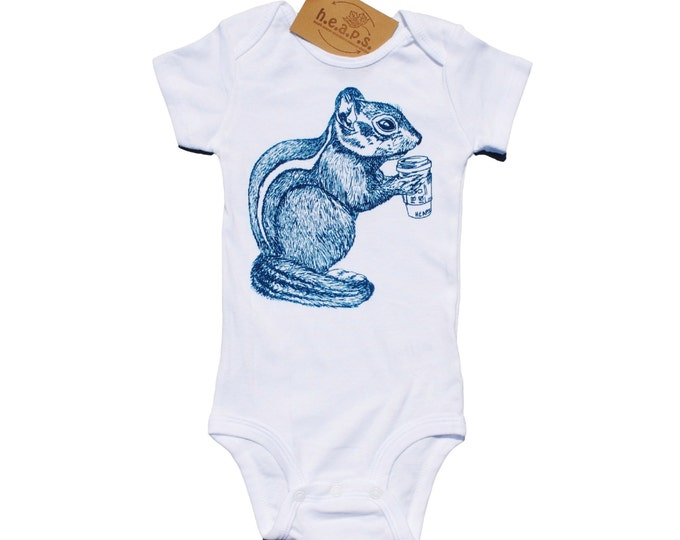 Teal Chipmunk Baby Romper - Whimsical Baby One Piece - Unique Baby Shower Gift - New Mom Gift Idea - Gifts for Baby Boys or Girls