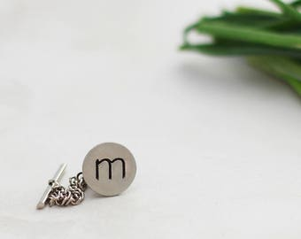 Hand Stamped Tie Tack, Initial Tie Pin, Gift Idea For Him, Stamped Lapel Pin