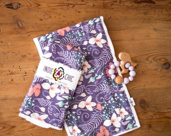 Indie & Chic Oversized Burp Cloths - Baby Gift Set - Changing Pad - Head Pad -  Spring Summer Collection - Purple Orchid