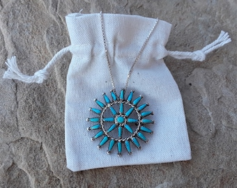 Sterling Silver Zuni Petit Point Sleeping Beauty Turquoise Native American Necklace and Pin