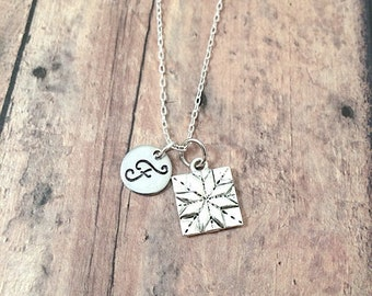 Quilt square initial necklace - quilt square jewelry, crafter jewelry, gift for quilter, quilt necklace, silver quilt square pendant