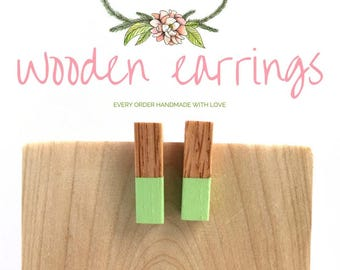Mint Earrings / Geometric Earrings for Women / Mint Earrings / Post Earrings / Wood Jewelry / Summer Jewelry / Earrings for Her /