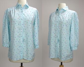 Pale blue blouse, confetti print, long sleeve, button down top, Danielle Jordanne, Large