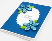 Items similar to quilled birthday card blue floral quilling handmade quilled birthday card blue floral quilling handmade unique elegant happy birthday gift 3d keepsake unusual paper quilling simple invitation stopboris