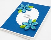 Items similar to quilled birthday card blue floral quilling handmade quilled birthday card blue floral quilling handmade unique elegant happy birthday gift 3d keepsake unusual paper quilling simple invitation stopboris Choice Image
