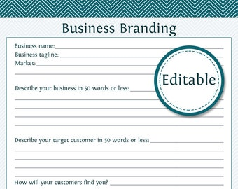 Business Branding Form - Fillable - Business Planner - Printable Organizational PDF - Instant Download