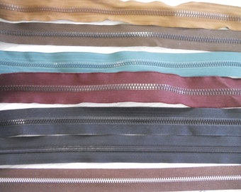 Zipper tape 2-sided plastic nylon coil aluminum black brown blue red 10 yds 1.59 Idea: train tracks