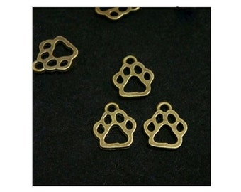 12 Small PAW PRINT Charms BRONZE Tone Cat or Dog Open Paws 11x13 mm Pet Charm Jewelry