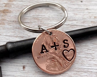 Couple Penny Anniversary Keychain/ Couple Gift/ Anniversary/ Wedding/ Lucky Penny /Stamped Penny/Gift for Her / Gift For Him