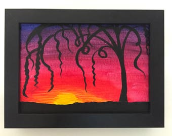 Framed Original Artwork Contemporary Painting, Sunset Silhouette