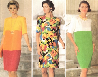 Ladies Dress PATTERN 1980s Vintage Butterick 5980 Loose fitting straight dress padded shoulders contrast layers of diff colored fabric
