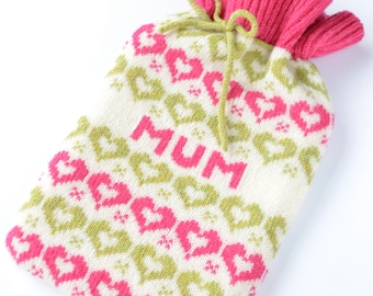 Personalised Pink Hearts Fairisle Knitted Bottle cosy/ cozy