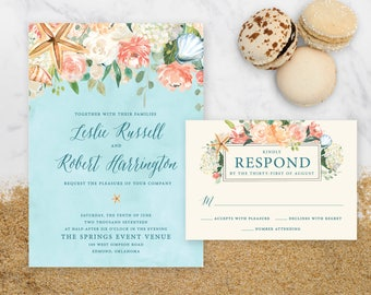 Beachy Wedding Invitation - 5x7""