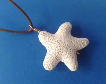 Starfish pendant diffuser, charm white lava stone, aromatherapy diffuser, unisex Gift