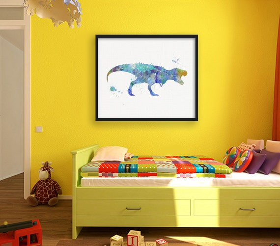 Blue T Rex Watercolor Dinosaur Nursery Wall Decor Kids