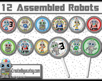 Robot Cupcake Toppers Robot birthday Decorations Custom personalized Robot favors cupcake picks cake topper cupcake top 12 assembled
