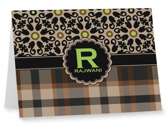 Moroccan Mosaic & Plaid Notecards (Personalized)
