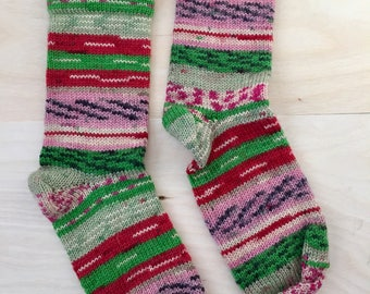 Granny's Cranky Knit Socks - Handmade Cozy - Red Green and Pink - Womens Small - WOOL/NYLON