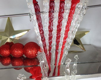 Say Seagrams and Be Sure - Winter Icicle Swizzle Sticks - Christmas Colors - Stocking Stuffer